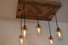 herringbone hardwood canopy, vintage Edison lights in mason jars, and black cords. All Chandelier canopies are sealed for long lasting life.