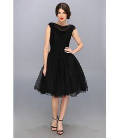 Unique Vintage Draped Collar Tulle Swing Dress