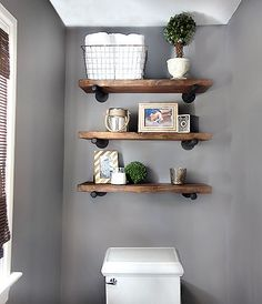 Love these shelves for above the toilet. DIY Restoration Hardware Inspired Shelving / 7thhouseontheleft.com