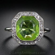 http://rubies.work/0937-emerald-pendant/ Vintage Peridot and Diamond Ring