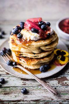 Blueberry Almond Pancakes   http://halfbakedharvest.com @hbharvest
