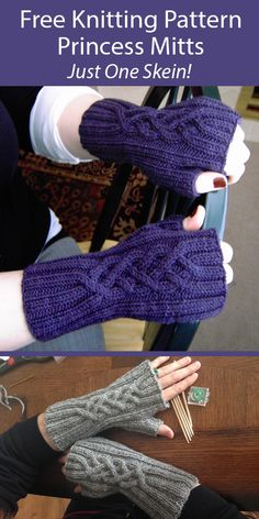 One Skein Fingerless Mitts Knitting Patterns - In the Loop Knitting Beginner Knitting Patterns, Knit Patterns, Free Knitting, Knitting Hats, Knitting Ideas, Knitting Projects, Fingerless Gloves Knitted, Crochet Gloves, Sport Weight Yarn