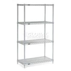 """54""""H Nexel Chrome Wire Shelving - 42""""W X 14""""D by GLOBAL INDUSTRIAL NY. $108.95. Nexel Chrome Wire Shelving Starter Unit Designed for Years of Heavy Duty Service Includes 4 posts with leveling feet, 4 shelves and snap-on sleeves to secure shelves to posts - everything needed to build unit shown. Electroplated nickel-chrome is durable, chip resistant and attractive for use in retail display. Customize your shelving with additional accessories ."""