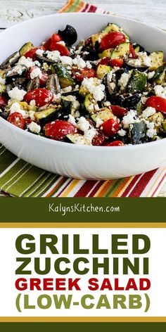In this this delicious Grilled Zucchini Greek Salad grilled zucchini replaces the cucumbers and this is a tasty low-carb Greek Salad variation when you have zucchini that needs to be used! Greek Recipes, Keto Recipes, Vegetarian Recipes, Cooking Recipes, Healthy Recipes, Vegetarian Grilling, Ketogenic Recipes, Ketogenic Diet, Snack Recipes