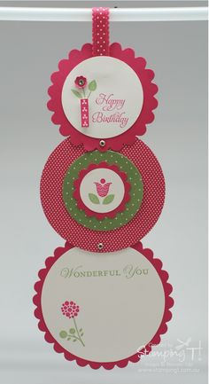 Stampin' Up! Circle Telescope Card Level 2 with Bright Blossoms - by Stamping T