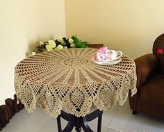 GUchina Tablecloths Crochet Round Table Cover Lace Table Covering Doilies for Furniture Decor 31 Coffee Brown *** You can get more details by clicking on the image. Floral Tablecloth, Crochet Tablecloth, Round Tablecloth, Patio Furniture Covers, Furniture Decor, Mantel Redondo A Crochet, Round Table Covers, Lace Table, Lace Doilies