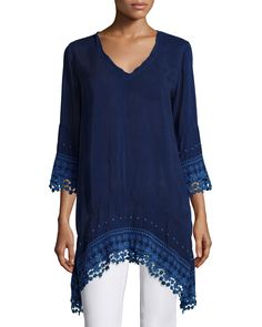3/4-Sleeve High-Low Tunic, Women's, White - Johnny Was