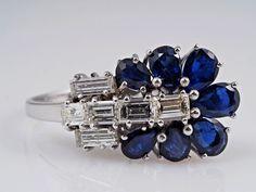 vintage Ring 0,70 Karat Diamanten 2,00 Karat Saphire 750 Gold    eBay