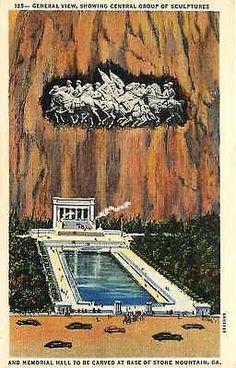 Stone Mountain Georgia 1936 Original Concept Stone Mountain Sculpture Postcard