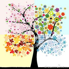 Abstract colorful  four season tree