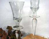 Pair Candelabra Upcycled Votive Glass Candle Holders  $10
