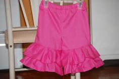 Pink double ruffle capris