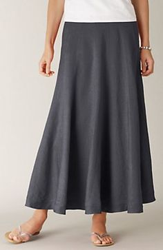 Long linen skirt in slate. Such a beautiful color... Great alternative neutral to blue denim