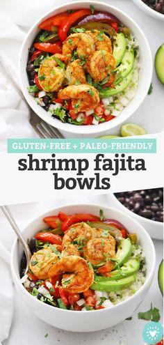 Shrimp Fajita Bowls - We turned shrimp fajitas into a delicious bowl! Build them with all your favorites to make them gluten-free or paleo! (Gluten-Free + Paleo-Friendly) // Shrimp Fajita Burrito Bowls // Pescatarian Dinner // Healthy Dinner #fajtas #shrimpfajitas #burritobowl #paleo #glutenfree
