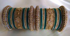 Teal and Golden Indian Designer Bangles Set Women by Shoppingover