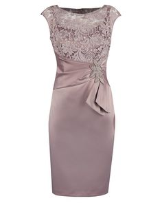 Sheath Bateau Short Champagne Satin Mother of The Bride Dress with Lace Beading – Vintage – Elegant Mob Dresses, Trendy Dresses, Simple Dresses, Beautiful Dresses, Nice Dresses, Short Dresses, Fashion Dresses, Peplum Dresses, Fashion Clothes