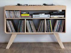 Handmade Turntable and Record Cabinet & DeVinyl DJ Station