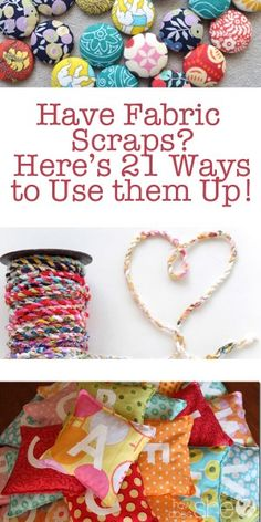 Fabric scraps can easily accumulate if you are a sewer or crafter, but can also be incredibly useful to make fun projects inexpensively. Try these DIY projects with your leftover fabric scraps! Scrap Fabric Projects, Easy Sewing Projects, Sewing Projects For Beginners, Fabric Scraps, Sewing Hacks, Sewing Tutorials, Sewing Crafts, Sewing Tips, Fun Projects