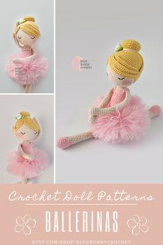 Ballerina Crochet Doll Pattern, Amigurumi Doll with Tutu and Flowers Pattern, Bailarna Patron Jennie from the series of Mini Ballerina Doll, Amigurumi Crochet Doll Pattern. This is a DOWNLOADABLE TUTORIAL. Written in English, using Us terminology. Bunny Crochet, Crochet Doll Pattern, Cute Crochet, Crochet Hooks, Crochet Patterns, Amigurumi Doll, Amigurumi Patterns, Doll Patterns, Diy Tutu