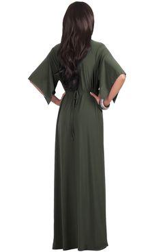 Image of Flutter Sleeve V-Neck Maxi Dress Olive Green