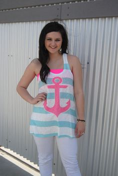 Mint and Pink Striped Anchor Tank Top – Texas Two Boutique