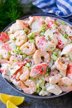 Seafood Salad Seafood Salad: This seafood salad is a blend of imitation crab and shrimp in a creamy dill dressing with fresh vegetables. An easy high protein lunch option. Great Salad Recipes, Sea Food Salad Recipes, Shrimp Salad Recipes, Shrimp Dishes, Potluck Recipes, Fish Recipes, Seafood Recipes, Healthy Recipes, Seafood Pasta