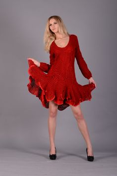 Crocheted red dress for lady - Short lace dress - Red wool dress - MADE TO ORDER