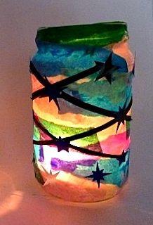 Weihnachten/basteln-leuchtendes-Teelicht-Seidenpapier