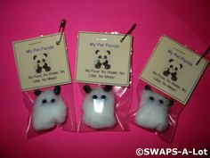 Available for purchase is a SWAPS Kit to create 25 Mini My Pet Panda Bear SWAPS. These SWAPS are sent in KIT form, ready for you or your troop to asse Girl Scout Swap, Girl Scout Troop, Brownie Girl Scouts, Scout Leader, Swaps For Girl Scouts, Craft Kits For Kids, Crafts For Kids, Preschool Crafts, Market Day Ideas