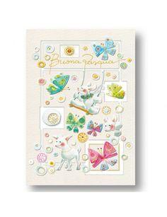 Biglietto per Pasqua illustrato Goccioline - Agnelli - Easter card - Lambs