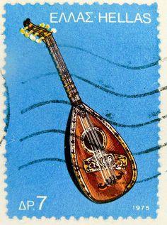 """Λαουτο___A stamp printed in Greece , from the '""""traditional musical instruments"""" issue shows a laouto , circa 1975 Greece Country, Empire Ottoman, Posters Vintage, Postage Stamp Art, Greek Culture, Greek Music, Stamp Printing, Greek Art, Greek Life"""