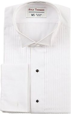 12ce7fdb Kyle Thomas Men's Cotton Rich Wing Collar Tuxedo Shirt 37/S White at Amazon  Men's Clothing store: Button Down Shirts