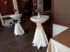 cocktail tables in ivory poly and navy & peach bow cinch Central Illinois, Cocktail Tables, Iowa, Wedding Designs, Peach, Events, Table Decorations, Navy, Home Decor