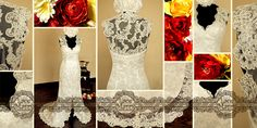 Transparent Lace Back Wedding Dress with a Deep Slit on the Front and Scalloped Deep V-Neckline by LaceMarry, $176.00