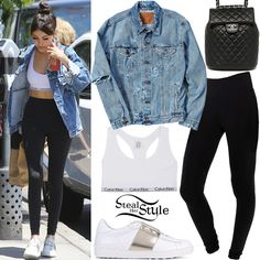 Madison Beer was spotted leaving Urth Caffe in West Hollywood wearing a Calvin Klein Sports Bra ($43.94), a Levi's Destroyed Denim Trucker Jacket ($119.00), American Apparel Fitness Pants ($54.00), a Chanel Lambskin Quilted Backpack (Sold Out) and Valentino Rockstud Leather Sneakers ($415.00).