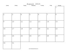 August 2015 Calendar with Jewish holidays, free to download and print