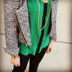 Emerald Essie blouse and Harper tweed jacket. Leona gold jewelry- gorgeous color combination!