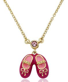 Loving this Gold & Hot Pink Bow Ballet Shoe Pendant Necklace on #zulily! #zulilyfinds