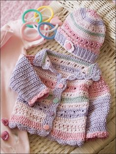 Crochet~ Girl's Striped Hat & Sweater- Pattern for sale Pull Crochet, Crochet Girls, Crochet For Kids, Free Crochet, Crochet Children, Crochet Woman, Crochet Baby Sweaters, Crochet Baby Clothes, Baby Knitting