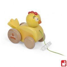 Een mooie houten trekfiguur in de vorm van een kuiken.     Afmeting van 12 x 7 x 11cm.   Geschikt voor kinderen vanaf 12 maanden.     Item nummer 190ME-6 € 13,95     Janod, de nummer 1 van houten speelgoed in Frankrijk , bekent om prachtig, kleurrijk , kwalitatief heel goed houten speelgoed.