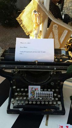 This typewriter was on the guestbook table