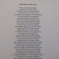 FREE *Printable* Bridal Shower Household Poem - Purchase ...