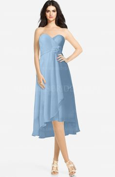 a5fd315b7a Sky Blue Classic Sweetheart Sleeveless Zip up Hi-Lo Plus Size Bridesmaid  Dresses (Style