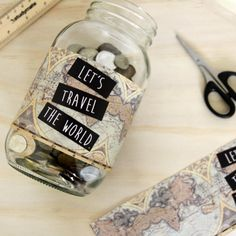 Let's Travel The World. Save for your next bit of travel with this cute digital label on ETSY - $5 AUD.
