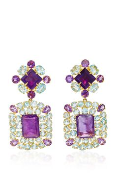 Convertible Blue Quartz and Amethyst Earrings by Bounkit for Preorder on Moda Operandi