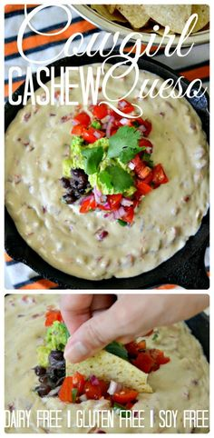 Housevegan.com: Cowgirl Cashew Queso - Filled with black beans, guac & pico this is not your everyday queso! It's creamy, rich, & full of good-for-you fats making it suuuper indulgent.