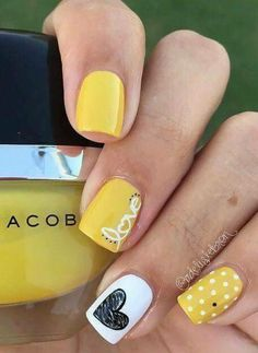 Show your love to summer with this summer love nails and design. nail designs for short nails nail designs for short nails 2019 full nail stickers nail art stickers at home full nail stickers Summer Holiday Nails, Holiday Nail Art, Spring Nails, Nail Summer, Valentine Nail Art, Yellow Nail Art, Yellow Nails Design, Super Nails, Love Nails