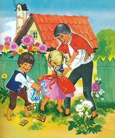 Mehrfach illustrierte die Illustratorin Felicitas Kuhn das Märchen Hänsel und Gretel. Dabei ist unklar, in welcher chronologischen Reihenfolge die Illustrationen als Einzelausgaben bzw. innerhalb verschiedener Sammelbände erschienen. Art And Illustration, Illustrator, Green Bodies, Man Character, Cute Guys, Fairy Tales, Fandoms, Fantasy, Cartoon
