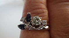 Vintage Diamond  Engagement Ring with by My3LadiesJewelry on Etsy, $499.99