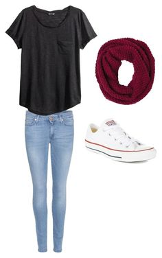 Fall outfit #9 by ellareneeh on Polyvore featuring polyvore, fashion, style, H&M, 7 For All Mankind, Converse and prAna